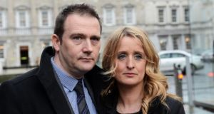 Roisin and Mark Molloy at Leinster House earlier this month seeking cross-party support for independent Hiqa inquiries into all baby deaths in Portlaoise hospital. Photograph: Eric Luke