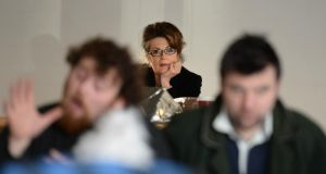 Christine Dwyer Hickey watches actors Michael Hough and Desmond Hickey at rehearsals for Snow Angels. Photograph: Dara Mac Dónaill