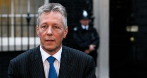 Northern Ireland's First Minister, Peter Robinson, speaks to media outside 10 Downing Street after talks with former British prime minister Gordon Brown in London in  2009. Photograph: Reuters