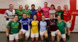 The Irish women's rugby team at Twickenham – wearing their respective county colours.