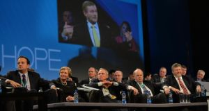 Taoiseach Enda Kenny addressing the 77th Fine Gael Ard Feis at the RDS tonight. Photograph: Alan Betson / The Irish Times