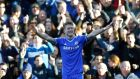 Chelsea's Andre Schurrle  celebrates his  hat-trick . Photograph: Eddie Keogh/Reuters