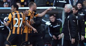 Newcastle United's manager Alan Pardew (right) and Hull City's David Meyler confront each other after the incident. Photograph: Lynne Cameron/PA Wire