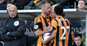 David Meyler of Hull City is headbutted nu Newcastle United manager  Alan Pardew. Photograph:  Tony Marshall/Getty Images