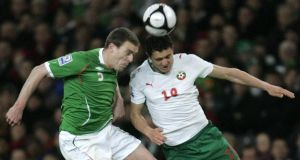 Richard Dunne (left) will sit out this week's friendly. Photographer: Dara Mac Dónaill / The Irish Times