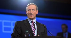 Taoiseach Enda Kenny speaking at the Fine Gael Ard Fheis in Dublin yesterday. Photograph: Eric Luke / The Irish Times