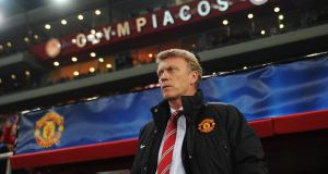 David Moyes during the first-leg game against Olympiakos in Athens.