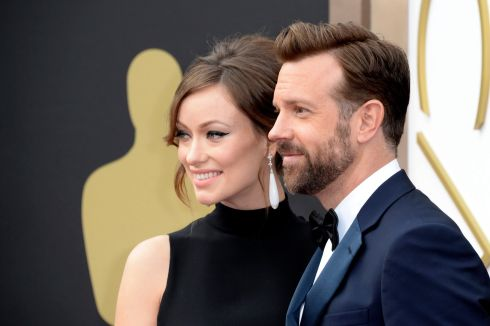 American actors Olivia Wilde and Jason Sudeikis at the awards. Photograph: Mike Nelson/EPA