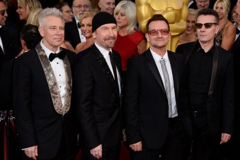 Adam Clayton, The Edge, Bono and Larry Mullen Jr of U2 arrive for the ceremony. Photograph: Paul Buck/EPA