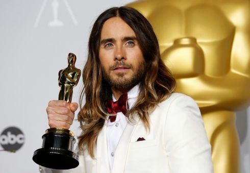 Actor Jared Leto with his award for best supporting actor for his role in Dallas Buyers Club. Photograph: Mario Anzuoni/Reuters