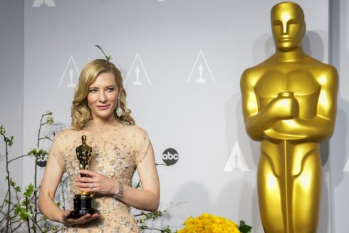 Cate Blanchett with her Oscar for Best Actress for Blue Jasmine. Photograph: Mario Anzuoni/Reuters