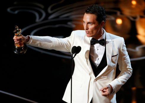 Matthew McConaughey accepts the Oscar for best actor for his role in Dallas Buyers Club. Photograph: Lucy Nicholson/Reuters
