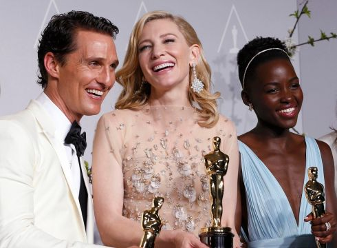 Best actor winner Matthew McConaughey, best actress winner Cate Blanchett and best supporting actress winner Lupita Nyong'o. Photograph: Mario Anzuoni/Reuters