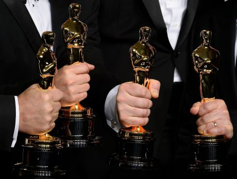 Sound editors Skip Lievsay, Niv Adiri, Christoper Benstead and Chris Munro with their Oscars for Best Achievement in Sound Mixing for Gravity. Photograph: Paul Buck/EPA