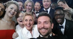 The A-lister Oscar's selfie that broke all records to become the most retweeted tweet of all time. Photograph: Twitter/ @TheEllenShow