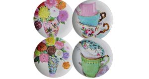 THREE OF THE BEST . . . FIERCE FLORALS Fabulous illustrations in a choice of watercolour designs decorate these great melamine dinner plates, 25cm in diameter, from Rice DK which cost £11 (€13.50) each, ex delivery, from Berry Red (0044-8454503937, berryred.co.uk). Matching Beakers are also available.