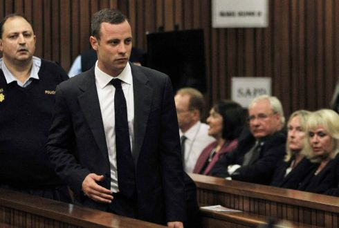 Oscar Pistorius arrives in court. Photograph: Themba Hadebe/EPA/Pool