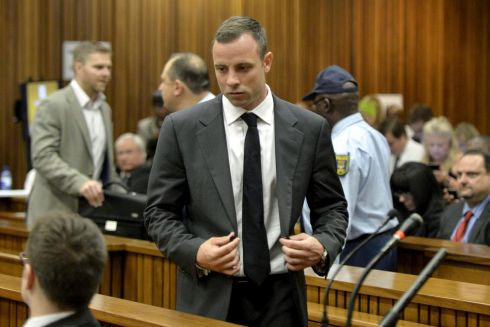 Mr Pistorius standing in the dock. Photograph: Herman Verwey/EPA