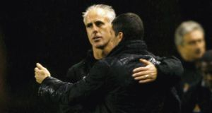 Mick McCarthy, then  Wolverhampton Wanderers manager, embraces Roy Keane, then Sunderland manager, after  a Coca-Cola Championship match between the teams at Molineux in  2006 in Wolverhampton. Photograph: Shaun Botterill/Getty Images