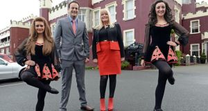 Minister for Transport, Tourism and Sport, Leo Varadkar TD and Mary Mitchell O'Connor TD , are joined by dancers Shauna McCarthy (left) from Ballyfermot, and Lori Hall, Shankill, at the opening of Tourism 2020 at Killiney, Co Dubin, yesterday. Photograph: Eric Luke/The Irish Times