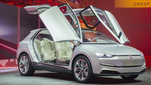 The Italdesign Giugiaro Clipper is presented during the Volkswagen Group preview ahead of the opening day of the 84th International Motor Show in Geneva, Switzerland. Photograph: Harold Cunningham/Getty Images