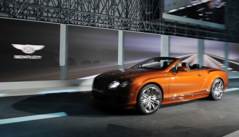 The new Bentley Continental GT Speed during the Volkswagen Group preview ahead of the opening day of the International Motor Show in Geneva, Switzerland. Photograph: Harold Cunningham/Getty Images