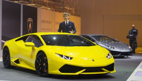 Lamborghini president and chief executive Stephan Winkelmann presents the new Lamborghini Huracan as a world premiere. Photograph: Harold Cunningham/Getty Images
