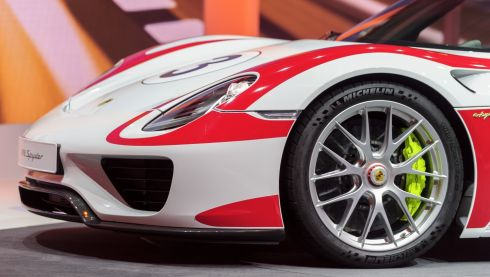 This is eyecatching: the Porsche 918 Spyder on display. Photograph: Harold Cunningham/Getty Images