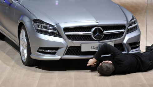 Fiddly stuff: Getting a Mercedes-Benz ready for the show. Photograph: Harold Cunningham/Getty Images
