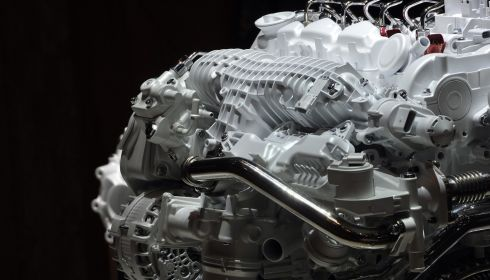 It's not rocket science, but it sure looks like it: A Volvo engine on display. Photograph: Harold Cunningham/Getty Images
