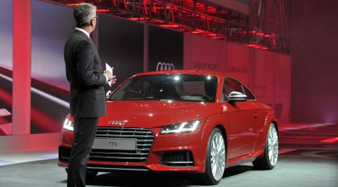 Volkswagen head of development Ulrich Hackenberg presents the new Audi A3 Sportback e-tron.  Photograph: Harold Cunningham/Getty Images