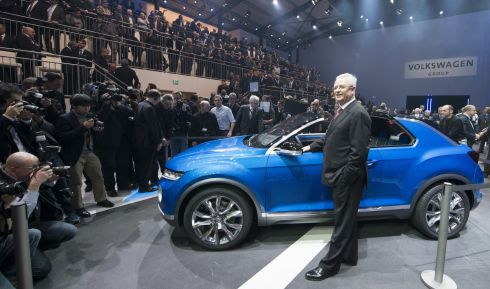 Volkswagen Group chief executive Martin Winterkorn poses next to the Volkswagen T-Roc concept car during the Volkswagen Group preview in Geneva.  Photograph: Harold Cunningham/Getty Images
