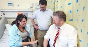 07/02/14 Minister for Health, James Reilly  pictured with Prof .  Norman Delanty, director of the epilepsy unit, and epilepsy suffer e er, Hannah Alam (17) from Athy, Co .  Kildare,  his morning at Beaumo u nt Hospital  where he officially opened a new state-of-the-ar Epilepsy monitoring unit. The new 4 bed unit is supported by over EUR700,000 capitalil investment in equipment from the HSE National Clinical Care Programme for Epilepsy... .   Photograph:  Picture Colin Keegan