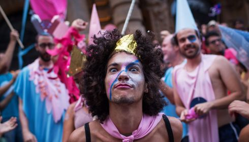 Going crazy at the Sao Paulo 'Lambuza' cross-dressing carnival. Photograph: Victor Moriyama/Getty Images