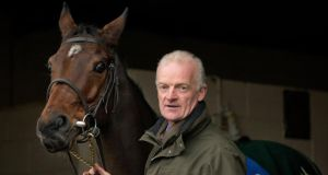 Willie Mullins with the favourite for the Champion Hurdle at Cheltenham, Hurricane Fly.