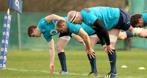Ireland's Paddy Jackson, Rory Best and Paul O'Connell during yesterday's training session at Carton House. Photograph: Billy Stickland/Inpho