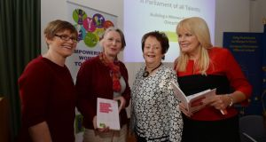 Orla O'Connor, Susan O'Keeffe, Mary O'Rourke and Mary Mitchell O'Connor at the launch of the new report yesterday.  Photograph: Alan Betson