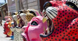 Masks used by performers at Carnival in Jacmel, Haiti. Photograph: Dearbhla Glynn