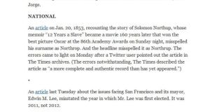The New York Times correction regarding Solomon Northup's name as it appeared online yesterday.