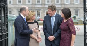 Denis Naughten TD, Hand in Hand development officer Jennifer Carpenter, Hand in Hand director Dr Michael Coughlan Diretor  and Senator  Fidelma Healy Eames outside Leinster House.  Photograph: Alan Betson/The Irish Times