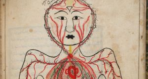 Veins in the Body: Treatise on Human Anatomy, by Mansur ibn Ilyas, with Persian text, circa 1450, Iran. Photograph: Copyright Trustees of Chester Beatty Library, Dublin