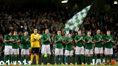 The formalities at Wednesday night's international friendly with Serbia at the Aviva Stadium included a tribute to servants of Irish football who died in recent times. The Irish team joined in with the crowd's generous applause. Photograph: Inpho/Ryan Byrne