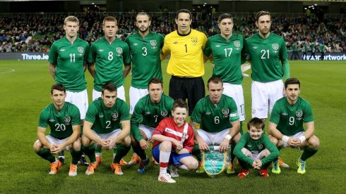 The Ireland XI was comprised of (back, from left) McClean, McCarthy, Wilson, Forde, Ward and Keogh; and front, Hoolahan, Coleman, McGeady, captain Whelan, and Long.