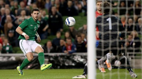 After an early disallowed effort from Glenn Whelan, Shane Long pounced on an error from Branislav Ivanovic to get Ireland off the mark. Photograph: Ryan Byrne