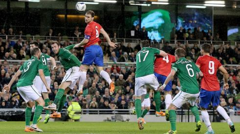 Serbia's threat built as the half progressed, as shown by Branislav Ivanovic's towering header while under pressure from Richard Keogh