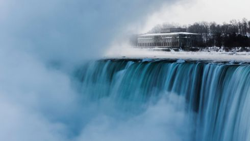 An old hydro building behind Niagara Falls during sub freezing  temperatures there this week.    Photograph: Mark Blinch/Reuters