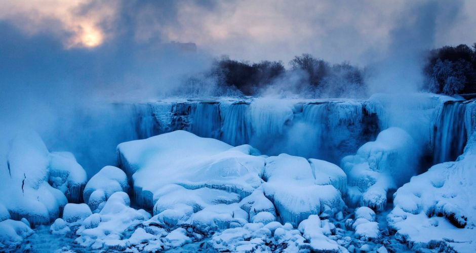 Beauty of frozen Niagara Falls