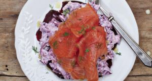 Smoked salmon salad with beetroot, red cabbage and horseradish