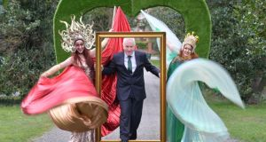 Minister for Heritage Jimmy Deenihan (centre) with performers at the launch of the    St. Patricks Festival's 'I Love my city' programme this week. The Minister rejected claims that the festival was 'soulless'.   Photograph: Alan Betson/The Irish Times