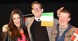 By the skin of his teeth: Late Late Show host Ryan Tubridy with Eurosong hopeful Laura O'Neill and her mentor, Billy McGuinness of Aslan. Photograph: Collins